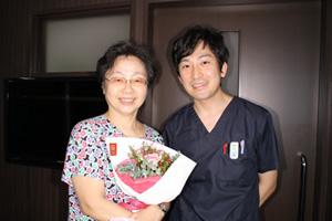 治療終了後の花束